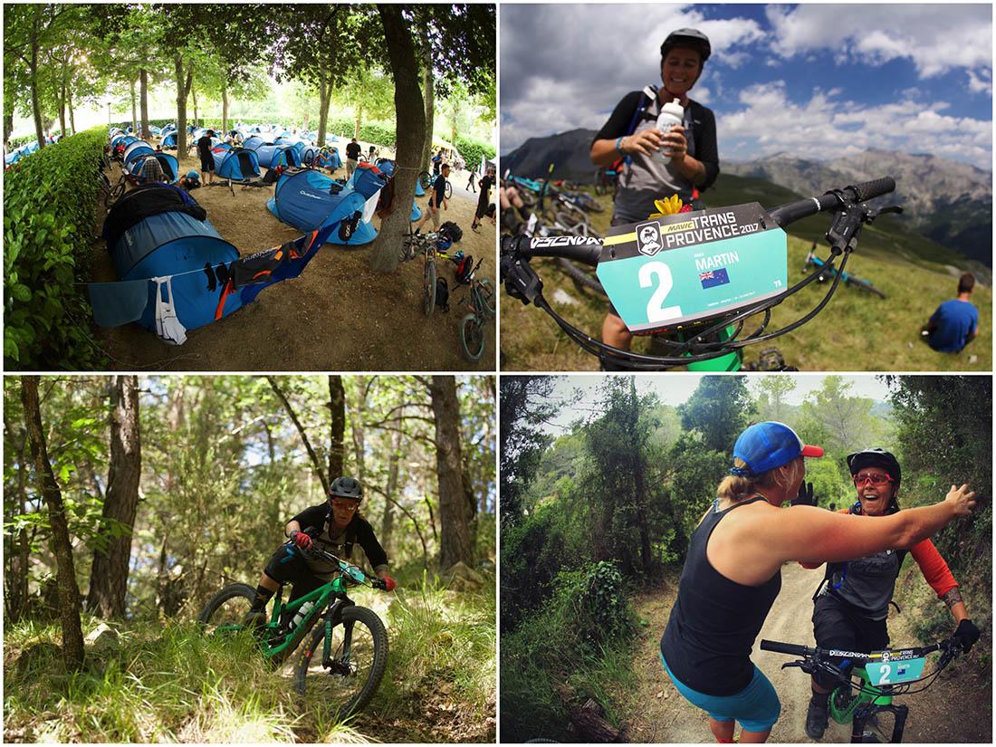 Juliana Bicycles - A Collage of Images of Anka Martin Riding at the Mavic Trans Provence