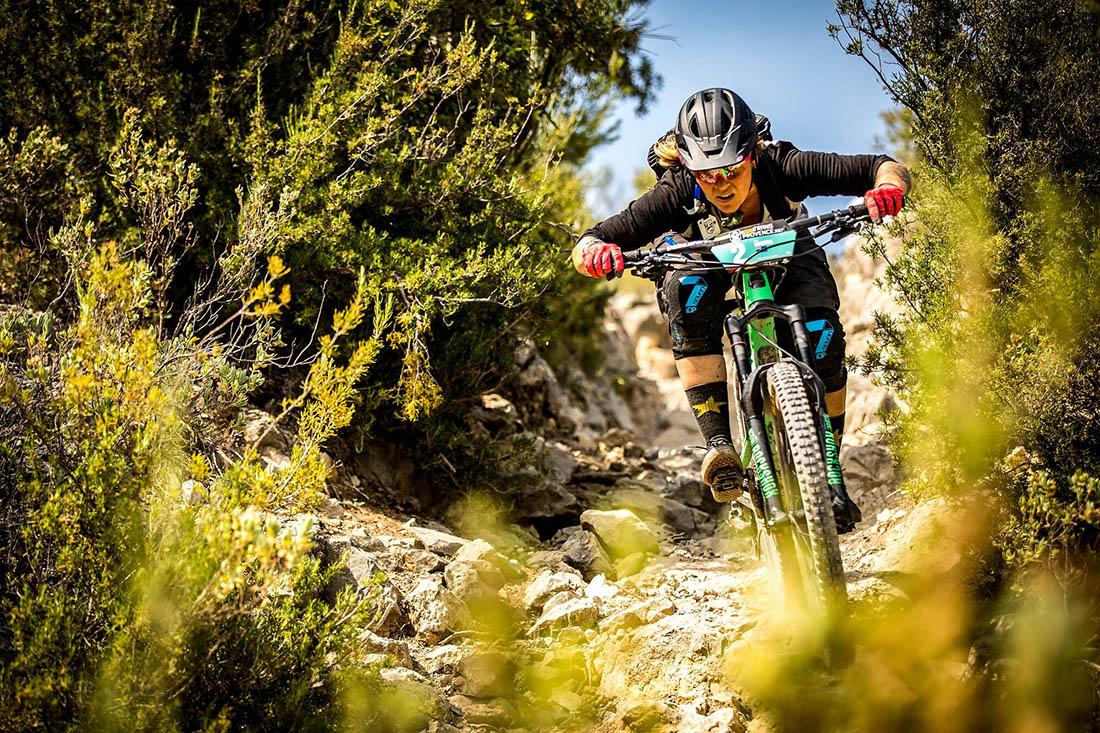 Juliana Bicycles - Anka Martin riding through a rock garden at the Mavic Trans Provence