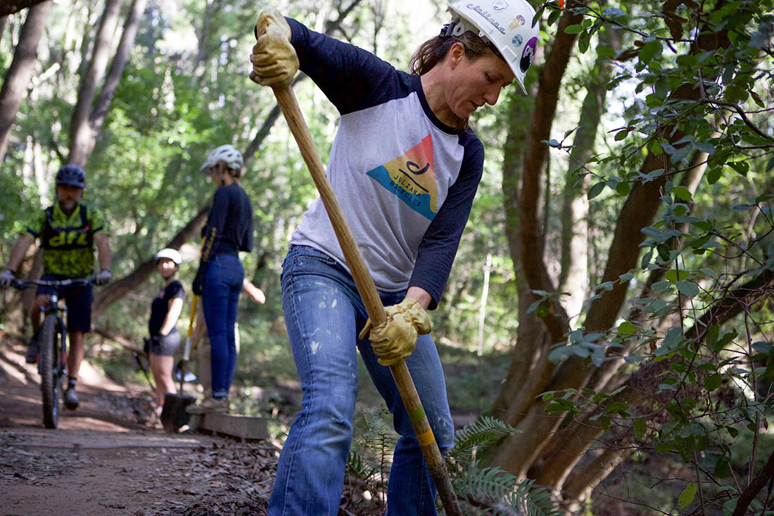 Juliana Bicycles - Trail Work on Emma McCRARY Trail in Santa Cruz